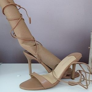 Lace-up leather sandals tan